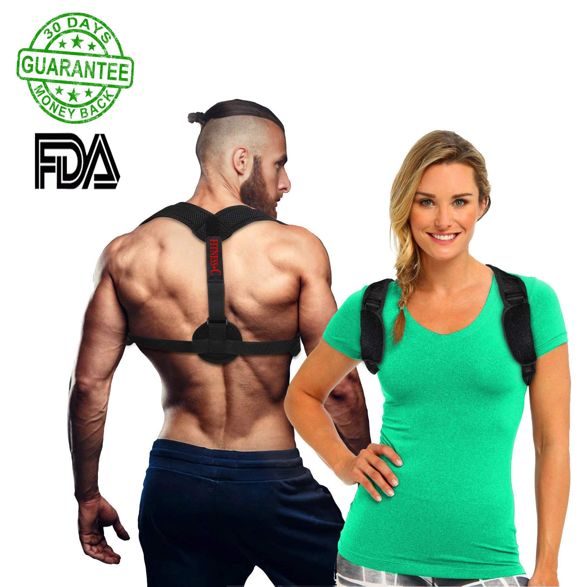 2018 Original Back Posture Corrector for Women and Men – Adjustable, Effective, Comfortable Clavicle Correct Brace - Improving Posture Support by Fitness.C   Free eBook, Bag and Underarm Pads