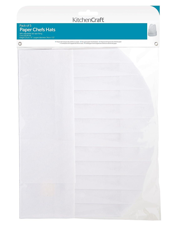 Kitchencraft 5 Piece Chefs Hats Paper White 16 X 12 X 9 Cm