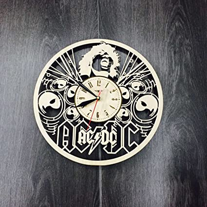 AC/DC Wall Clock Made Of WOOD   Perfect And Beautifully Cut   Decorate Your