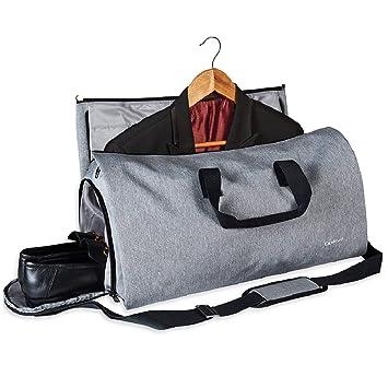 Colisal Portatrajes Hombre 60L Bolsa Viaje Plegable, Bolsa Traje con Compartimentos para Zapatos y Correa Bandolera, Funda de Traje Mujeres Gris