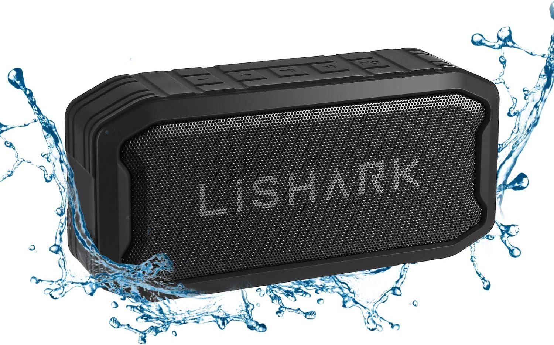 LiSHARK Portable Wireless Bluetooth Speaker,IP67 Waterproof Outdoor Speakers,Built-in FM Radio,Hands-Free Calls, Perfect for Shower Pool Beach Boating Bag Hiking,16H Playtime Loud HD Sound(Black)