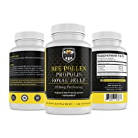 HMS Nutrition Premium Bee Pollen Daily Dietary Supplement - Includes Propolis &...