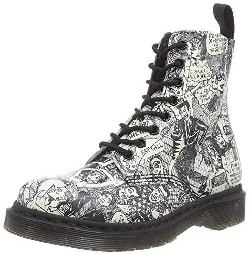 5baebbd8122 Dr. Martens Womens Black & White Party People Pascal Boots: Amazon ...