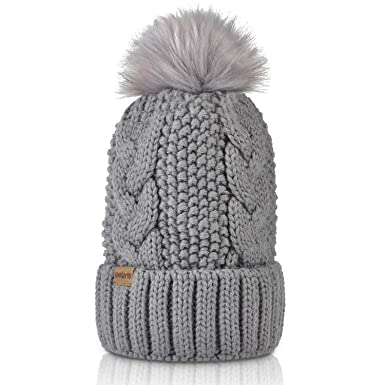 7717286f3a4 Winter Knit Hat w/Faux Fur Pom Pom Cuff Beanie Skull Ski Cap for Women