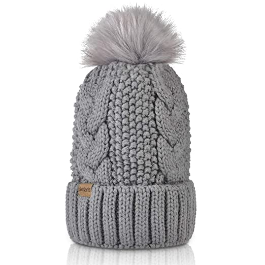 615f63adddc Amazon.com  Womens Pom Pom Beanie Winter Hat Stretch Soft Knit Skull ...