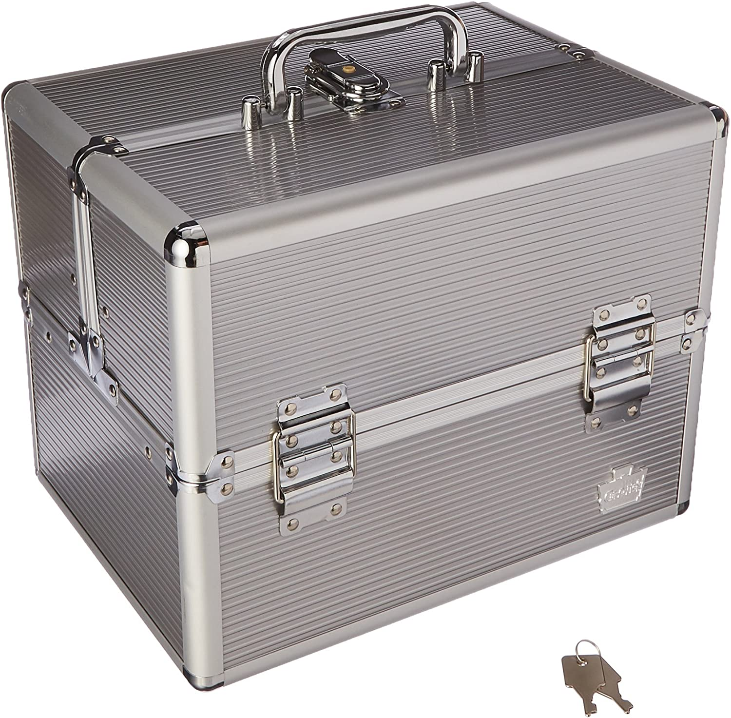 Caboodles Goddess 4 Tray Train Case, Cosmetic Storage Case Organizer, Silver, 4.03 Lb