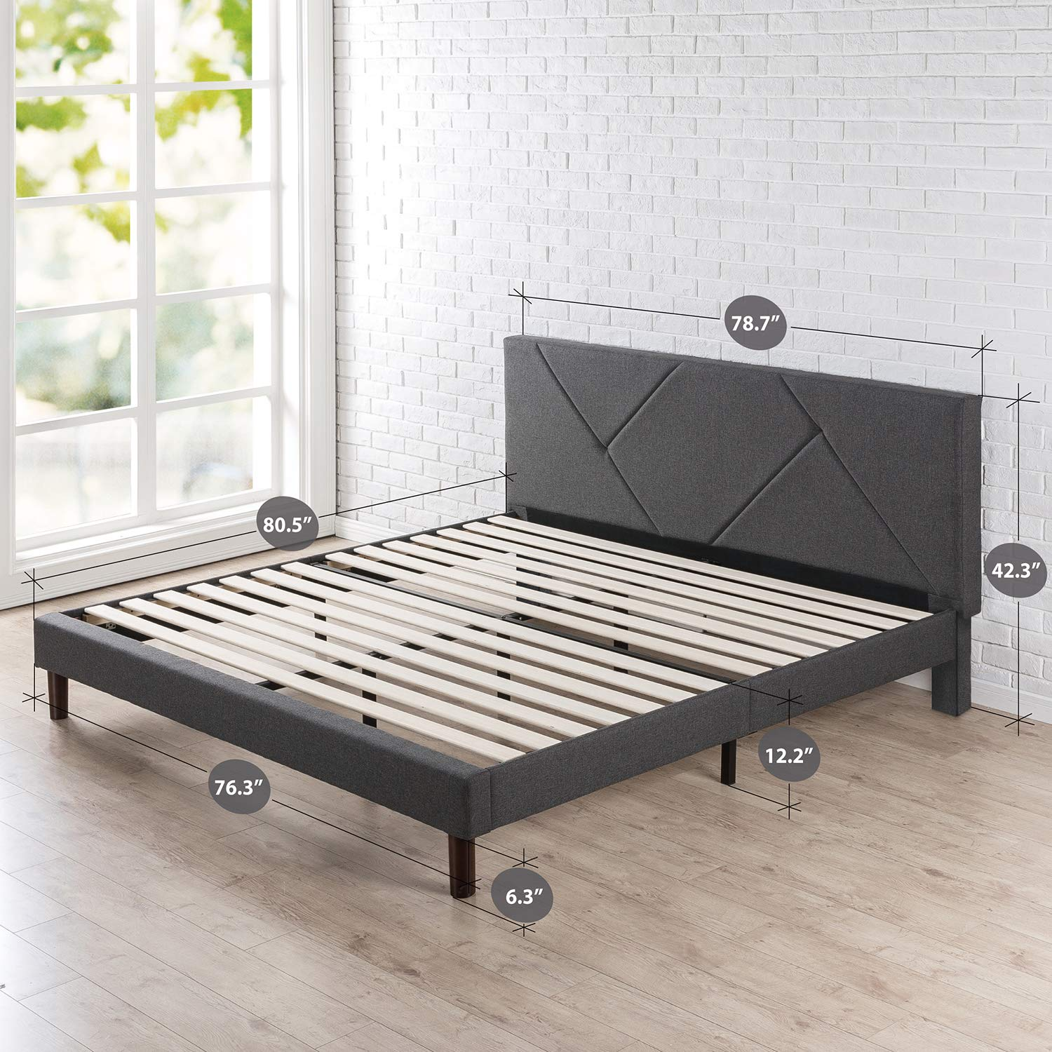 Zinus Upholstered Geometric Paneled Platform Bed / Mattress Foundation / Easy Assembly / Strong Wood Slat Support, King by Zinus (Image #2)