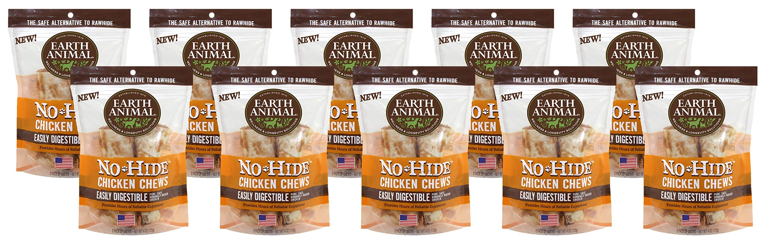 Earth Animal 20 Count No-Hide Chicken Chews, Small 4 Inch, Rawhide Alternative for Dogs Up to 45 Pounds