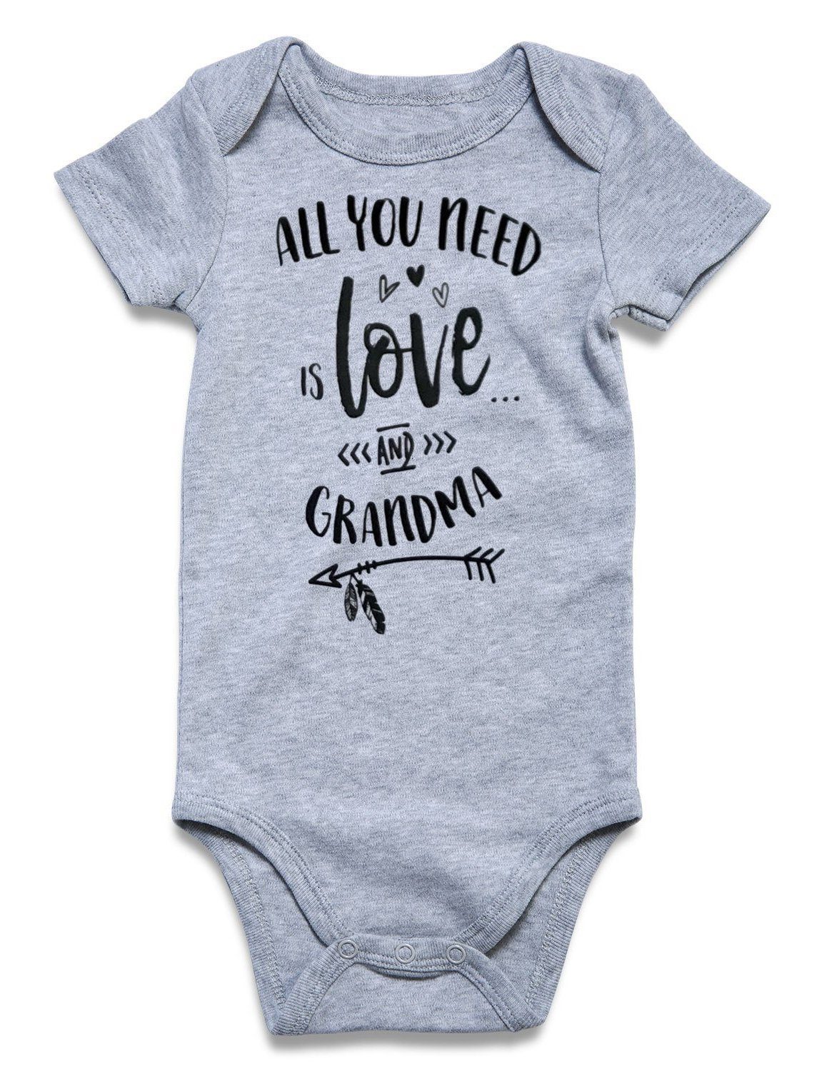BFUSTYLE All You Need is Love and Grandma Print Cute Short-Sleeve Bodysuit Red White Stripe Coral Outfits for Baby Girls Shower Gift Jumpsuit Shorts Sleepwear 1-2 T (Love and Grandma, 6-12 Month)