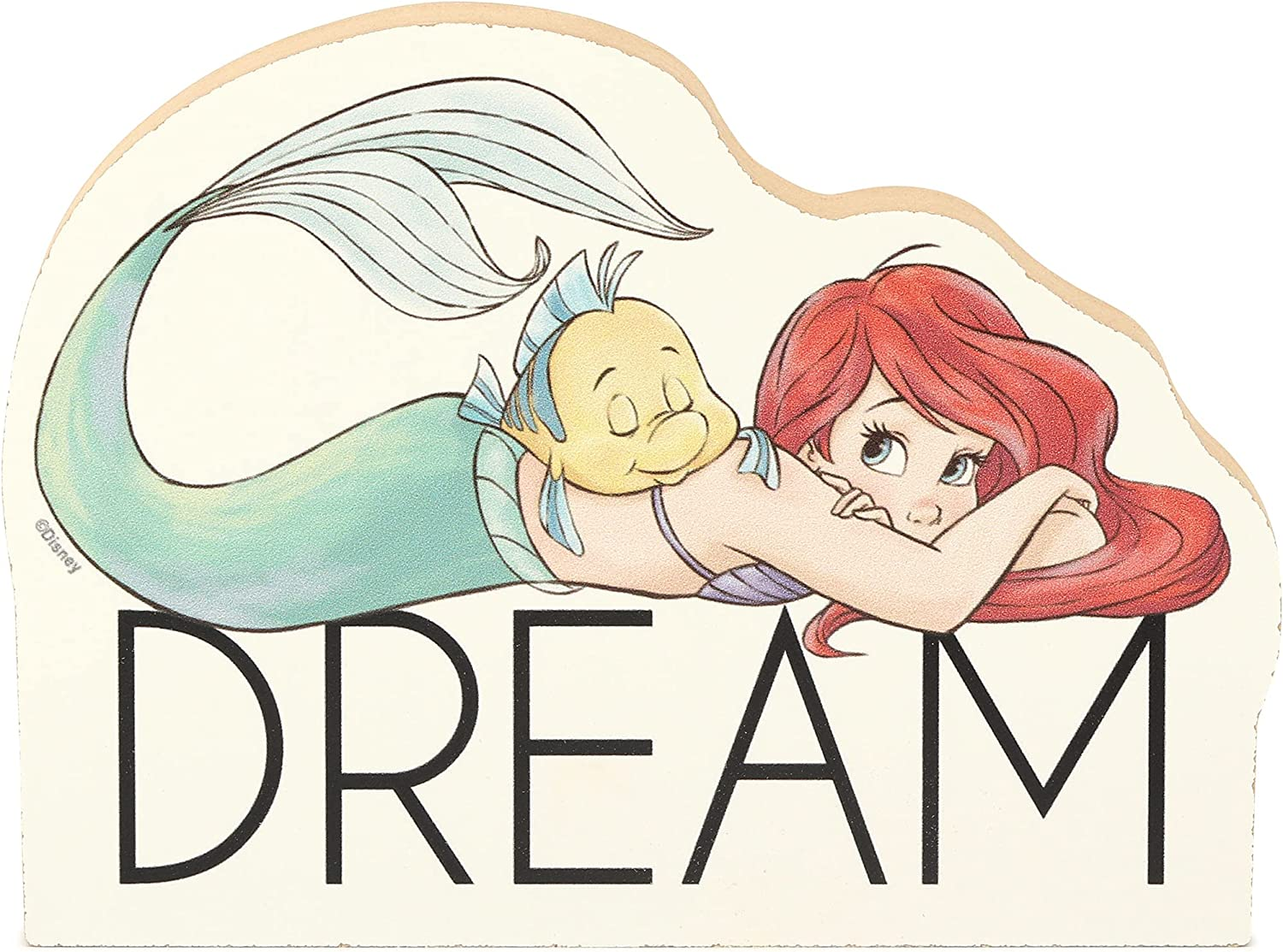 Open Road Brands Disney Princess The Little Mermaid Ariel and Flounder Dream Shelf Sitter Décor - Chunky Wood Block Cutout for Kids' Bedroom, Play Room or Nursery