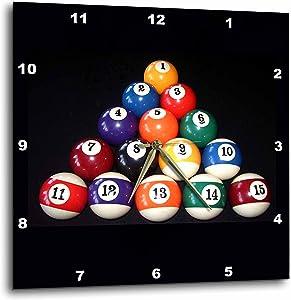3dRose DPP_3317_1 Billiards Balls Pool Wall Clock, 10 by 10-Inch