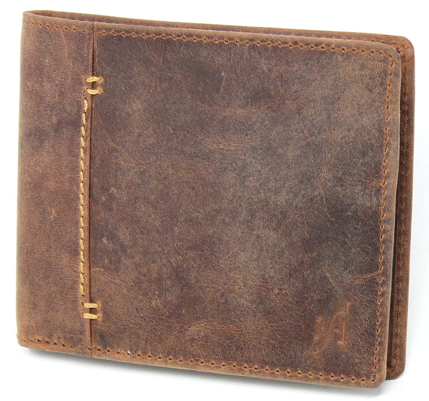 StarHide Bifold Real Distressed Hunter Leather RFID Blocking Wallet For Men 1050 Brown 10502