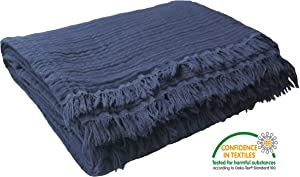 "Pre-Washed 100% Organic Muslin Cotton Throw Blanket for Couch, Sofa, Adults and Kids, 4 Layers Breathable Plant Dyed Soft, Cozy, Warm Lightweight Bed Blanket, All Seasons (55""x60"" inches) (Navy Blue)"
