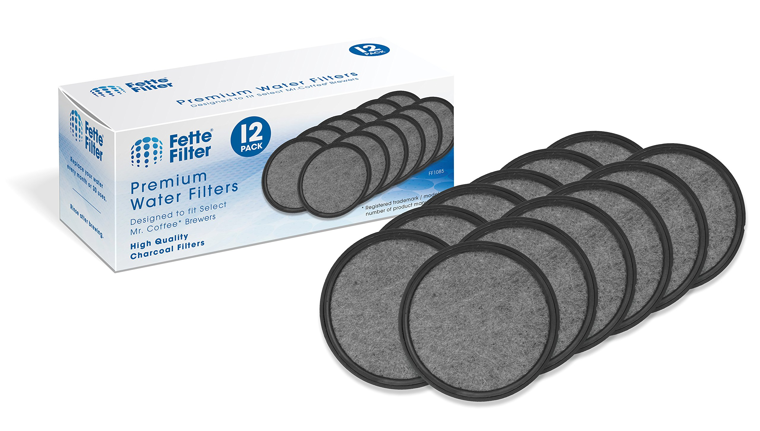 12-Pack - Mr. Coffee Compatible Water Filters - Universal Fit Mr. Coffee Compatible Filters - Replacement Charcoal Water Filter Discs for Mr. Coffee Coffee Brewers by Fette Filter
