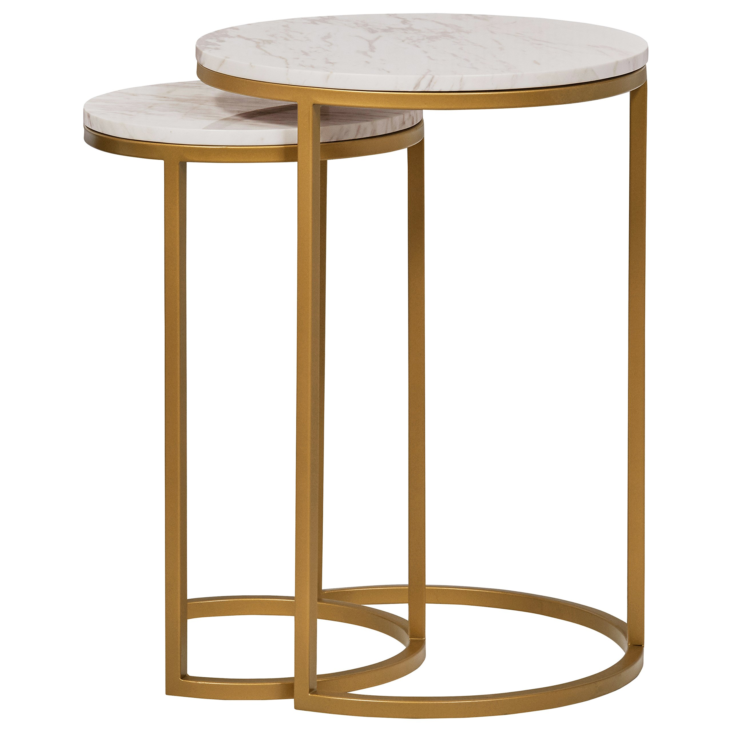 Rivet Circular Modern Marble and Gold Nesting Side Table, Set of 2, Marble/Gold by Rivet (Image #3)