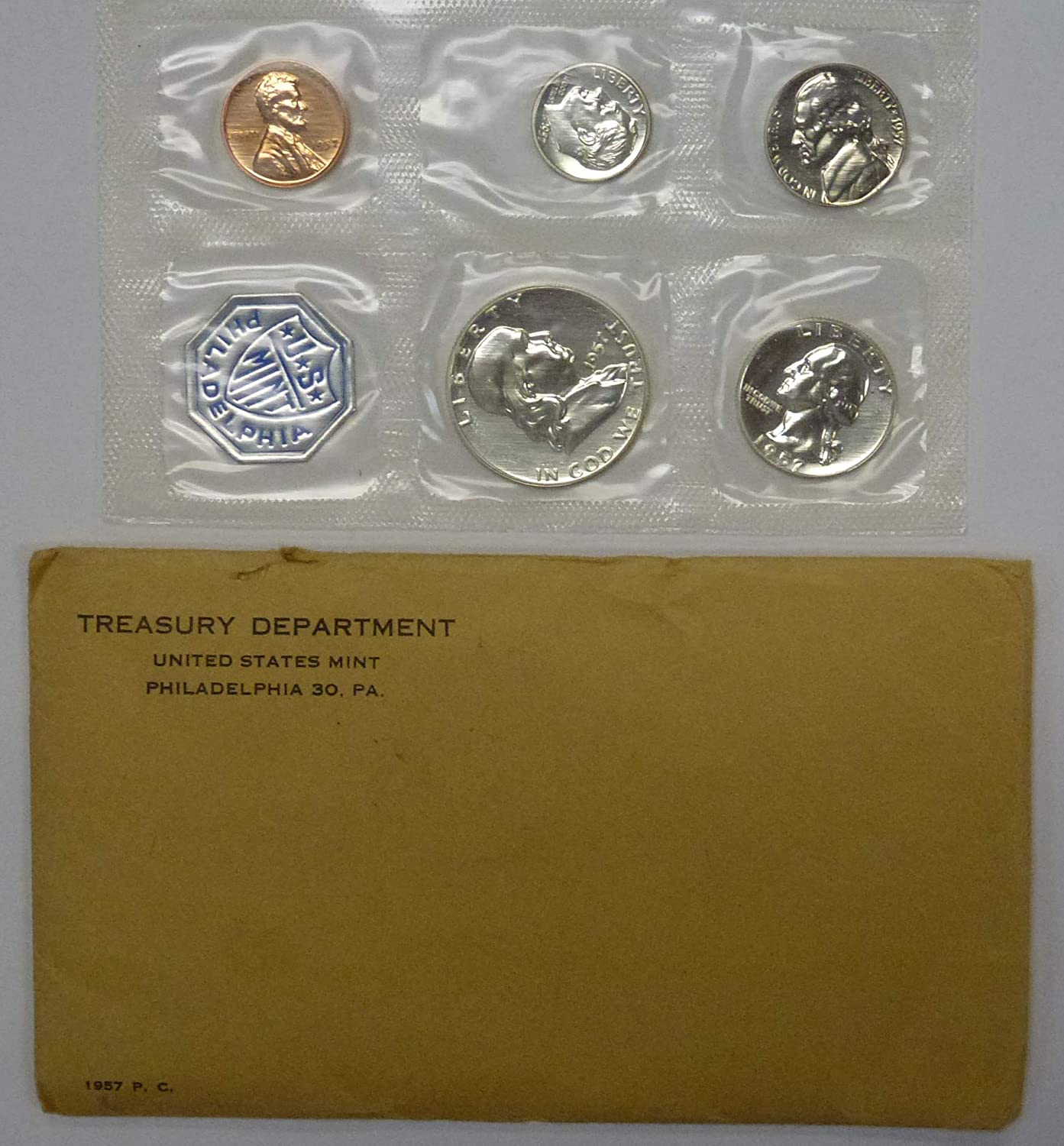 1957 UNOPENED 5 COIN FLAT PACK SILVER PROOF SET