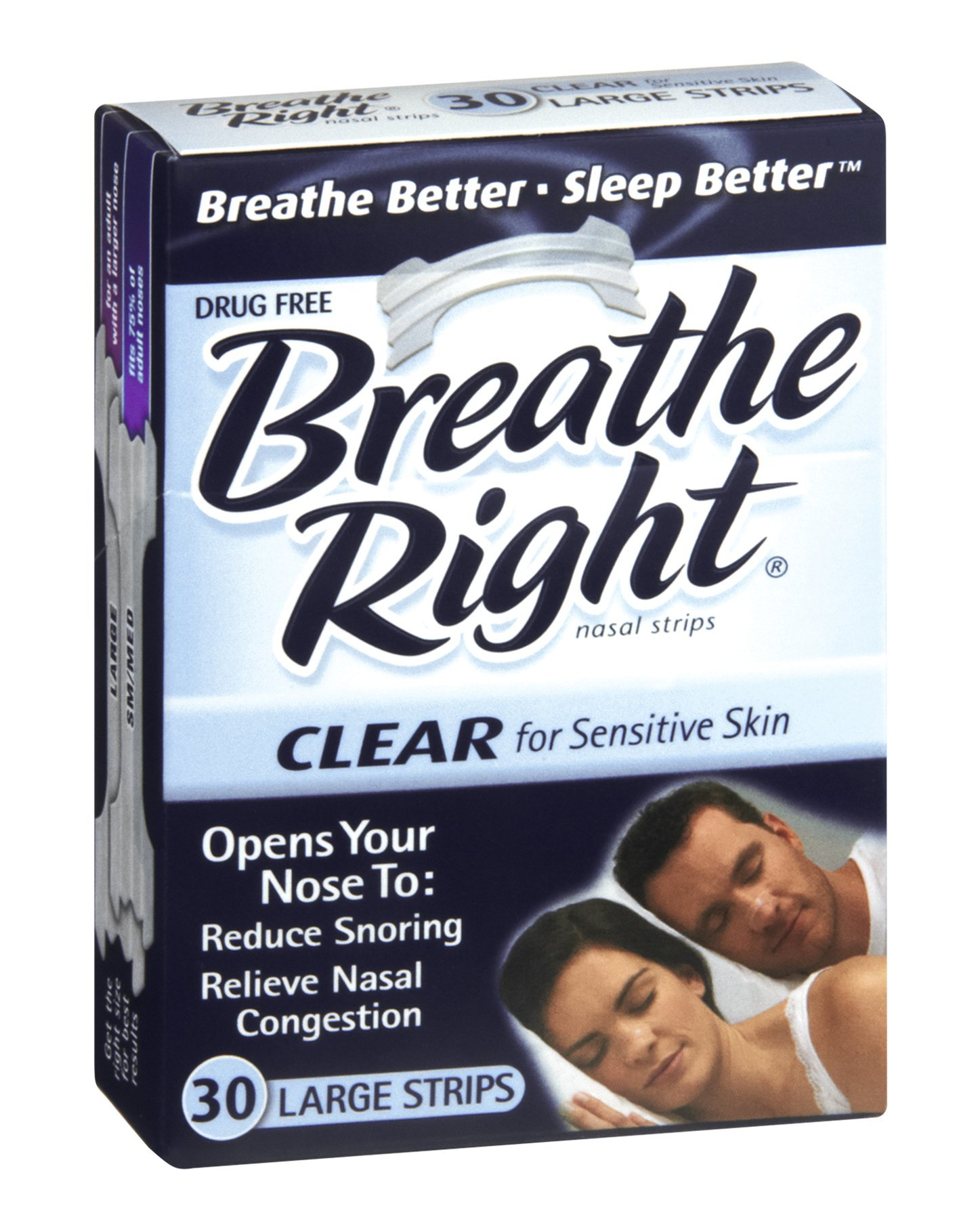 Breathe Right Nasal Strips Clear Large 30 Each (Pack of 9)