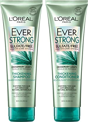 L'Oreal Paris Hair Care EverStrong Thickening Sulfate Free Shampoo & Conditioner Kit, Thickens + Strengthens, For Thin, Fragile Hair, with Rosemary Leaf, Combo (8.5 Fl. Oz each) (Packaging May Vary)