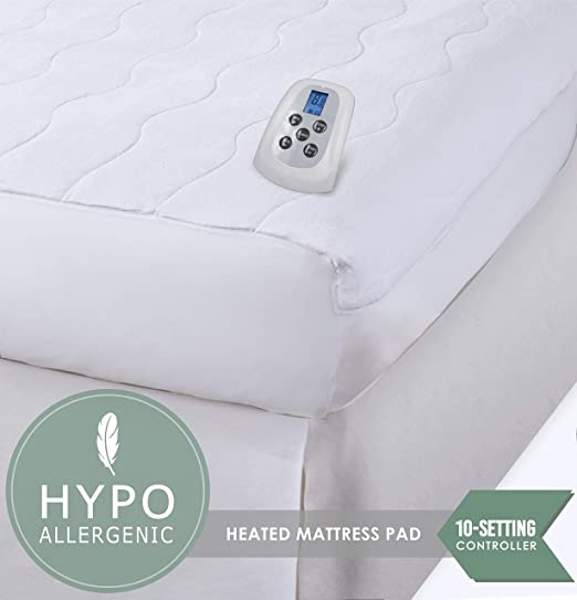 """80/""""X78/"""" King Size Electric Heated Mattress Pad w// 2 Controller White  Bed Topper"""