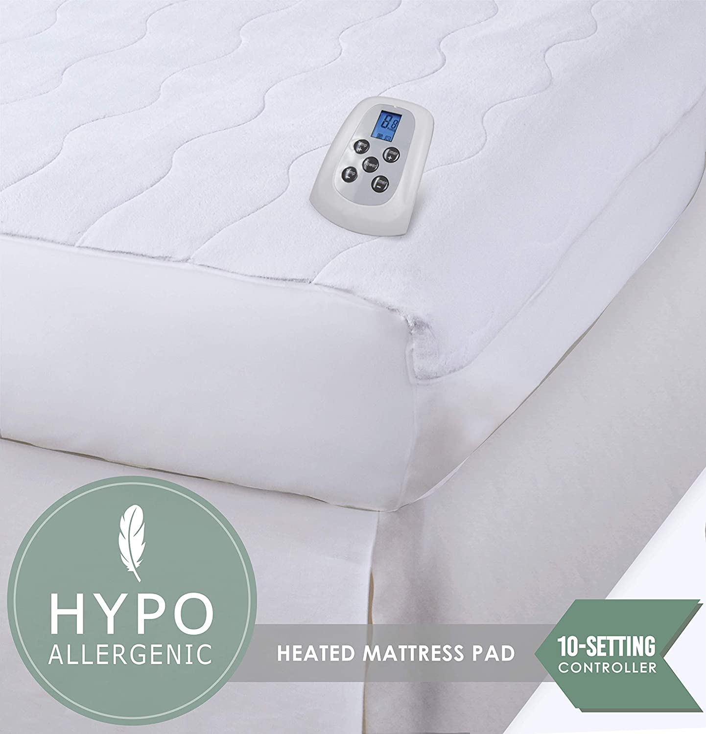 Serta Silky Smooth Plush Velour Electric Heated Mattress Pad with Hypoallergenic Fill