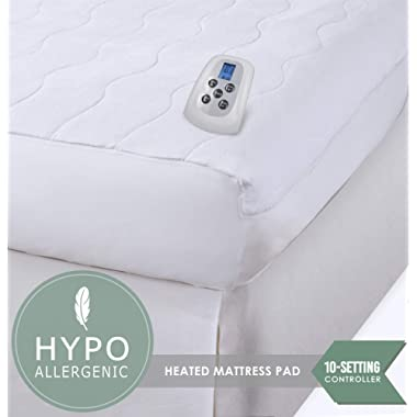 Serta | Silky Smooth Plush Velour Electric Heated Mattress Pad with Hypoallergenic Fill (California King)