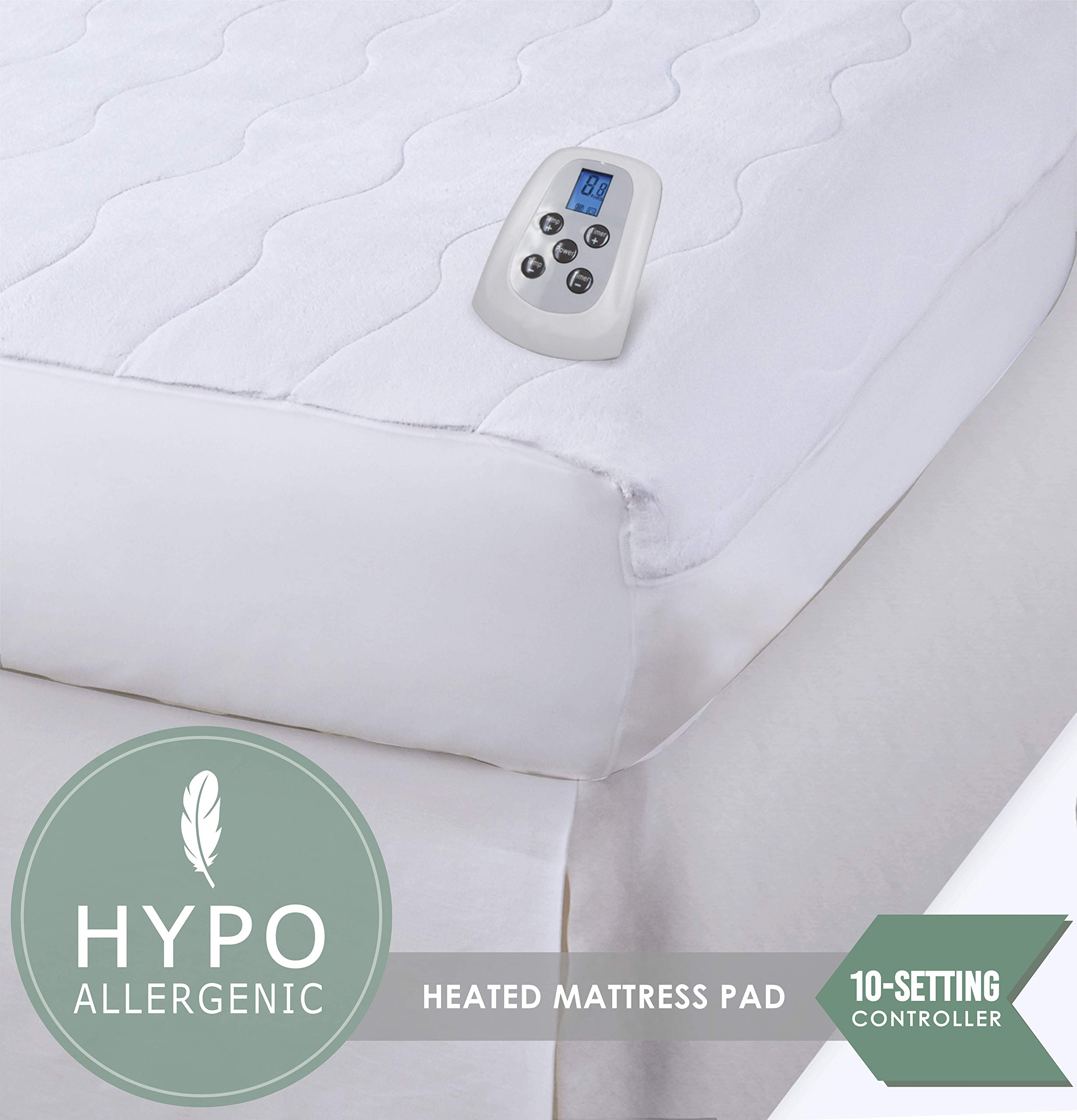 Serta | Silky Smooth Plush Velour Electric Heated Mattress Pad with Hypoallergenic Fill (Full)