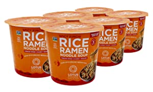 Lotus Foods Spicy Kimchi Rice Ramen Noodle Soup With Freeze-Dried Chunky Veggies Cup, 2.05oz, 6 Count