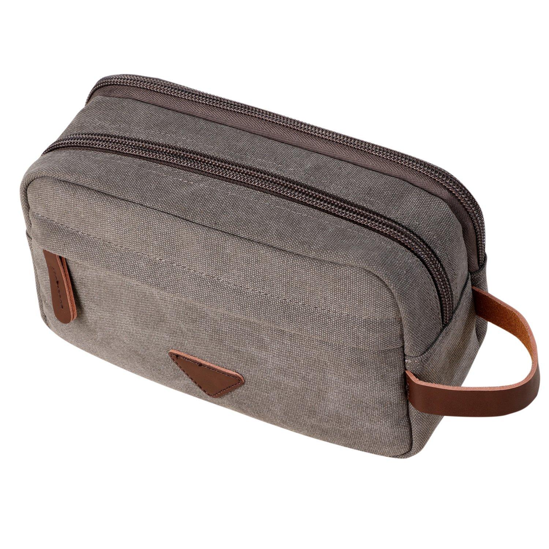 Amazon.com   Mens Travel Toiletry Bag Canvas Leather Cosmetic Makeup  Organizer Shaving Dopp Kits with Double Compartments (Gray)   Beauty 7fec28c69e