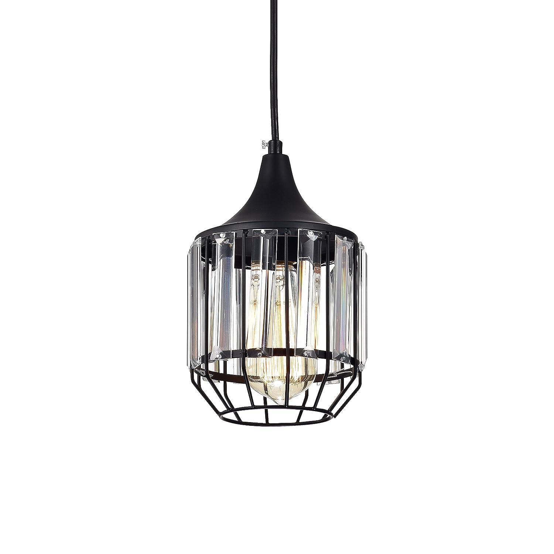 LaLuLa Pendant Lighting Black Vintage Pendant Lights Mini Crystal Chandeliers Industrial Light Fixtures for Kitchen Island 1-Light 801