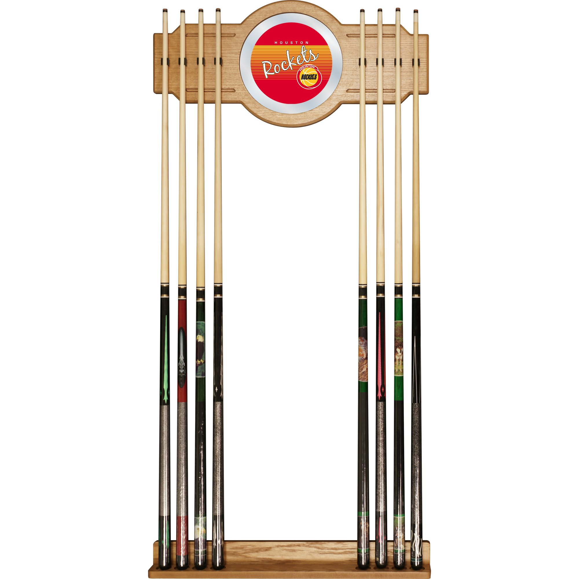 Trademark Global NBA Houston Rockets Cue Rack with Mirror, One Size, Brown