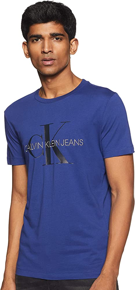 Calvin Klein Monogram Logo Slim tee Camisa, Blueprint/CK ...