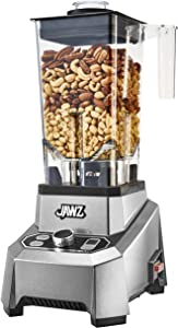 JAWZ High Performance Blender, 64 Oz Professional Grade Countertop Blender, Food Processor, Juicer, Smoothie or Nut Butter Maker, Variable 10 Speed Easy Control Dial, Stainless Steel Blades, Silver