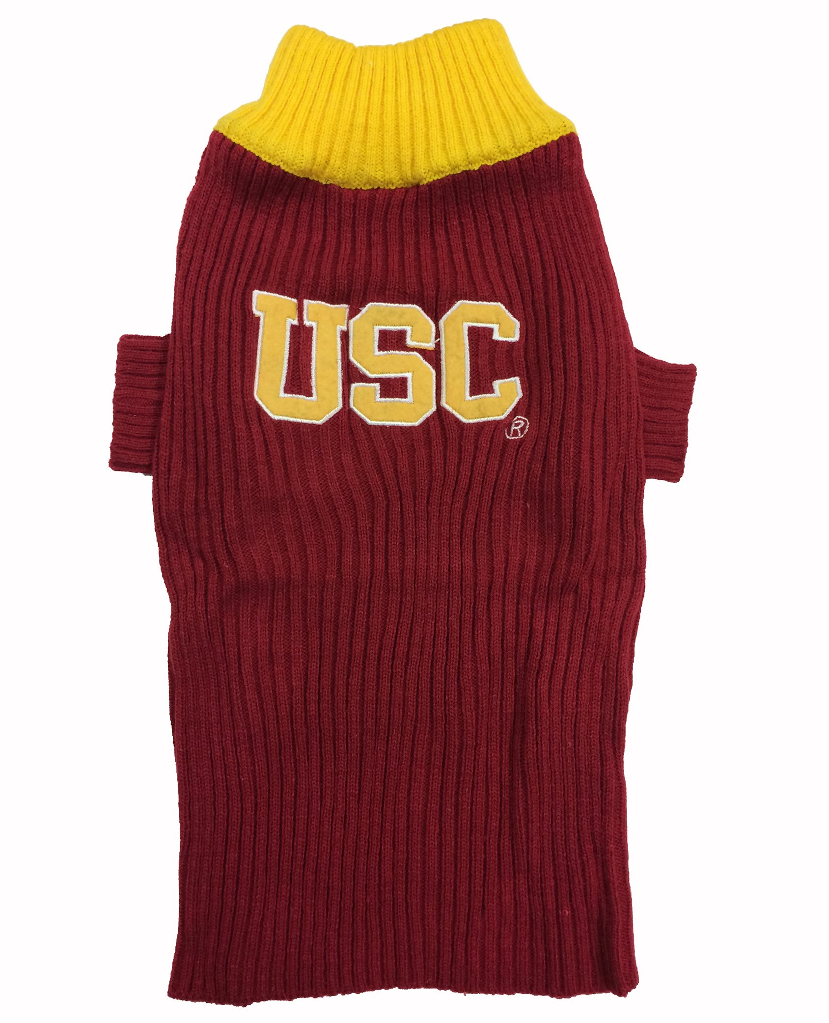 Pets First College USC Trojans V-Neck Dog Sweater, Small