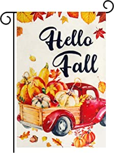 Amandir Hello Fall Garden Flag, Thanksgiving Signs Decor 12 x 18 Double Sided Burlap Pumpkin Red Truck Yard Flags, Outdoor Outside Farmhouse Front Porch Seasonal Decorations