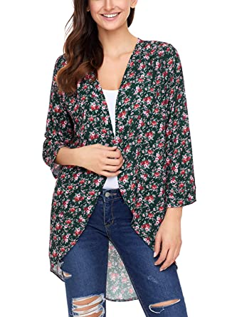 ZKESS Womens Floral Kimono Cardigan Loose Cover Ups S-XXL at ...