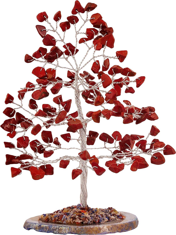 PYOR Red Jasper Silver Wire Slice Bonsai Money Tree Gemstone Aura Crystal Cleansing Chakra Balancing Reiki Healing Feng Shui Prosperity Stones Good Luck Decor Wealth Vastu Fortune 7 Inch Approx