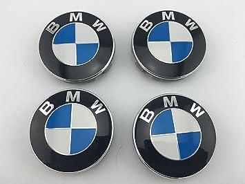 Motorcarbonfiber JUEGO DE 4 TAPABUJES PARA LLANTAS DE ALEACIÓN CON LA INSIGNIA DE BMW, 68