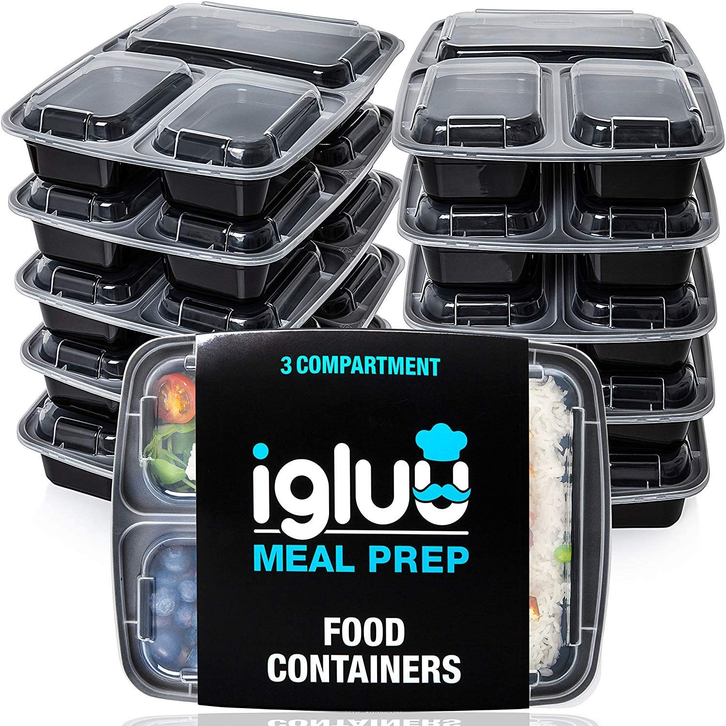 Igluu Meal Prep Containers [10 pack] 3 Compartment with Airtight Lids - Plastic Food Storage Bento Box - BPA Free - Reusable Lunch Boxes - Microwavable, Freezer and Dishwasher Safe - Bonus eBook
