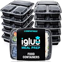 [10 Pack] 3 Compartment BPA Free Reusable Meal Prep Containers - Plastic Food Storage Trays with Airtight Lids - Microwavable, Freezer and Dishwasher Safe - Stackable Bento Lunch Boxes - Bonus eBook