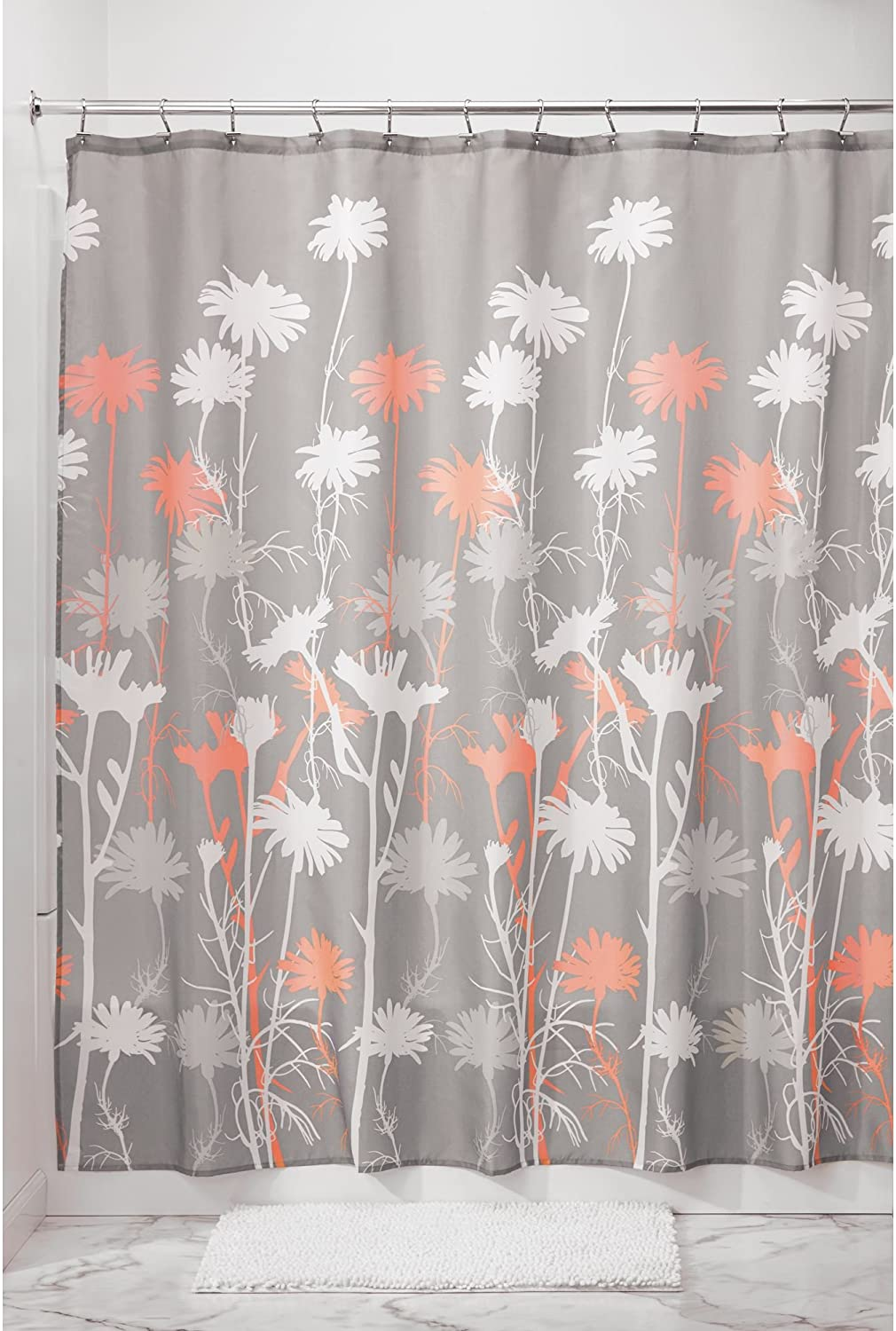 iDesign Fabric Daizy Shower Curtain for Master, Guest, Kids', College Dorm Bathroom, 72