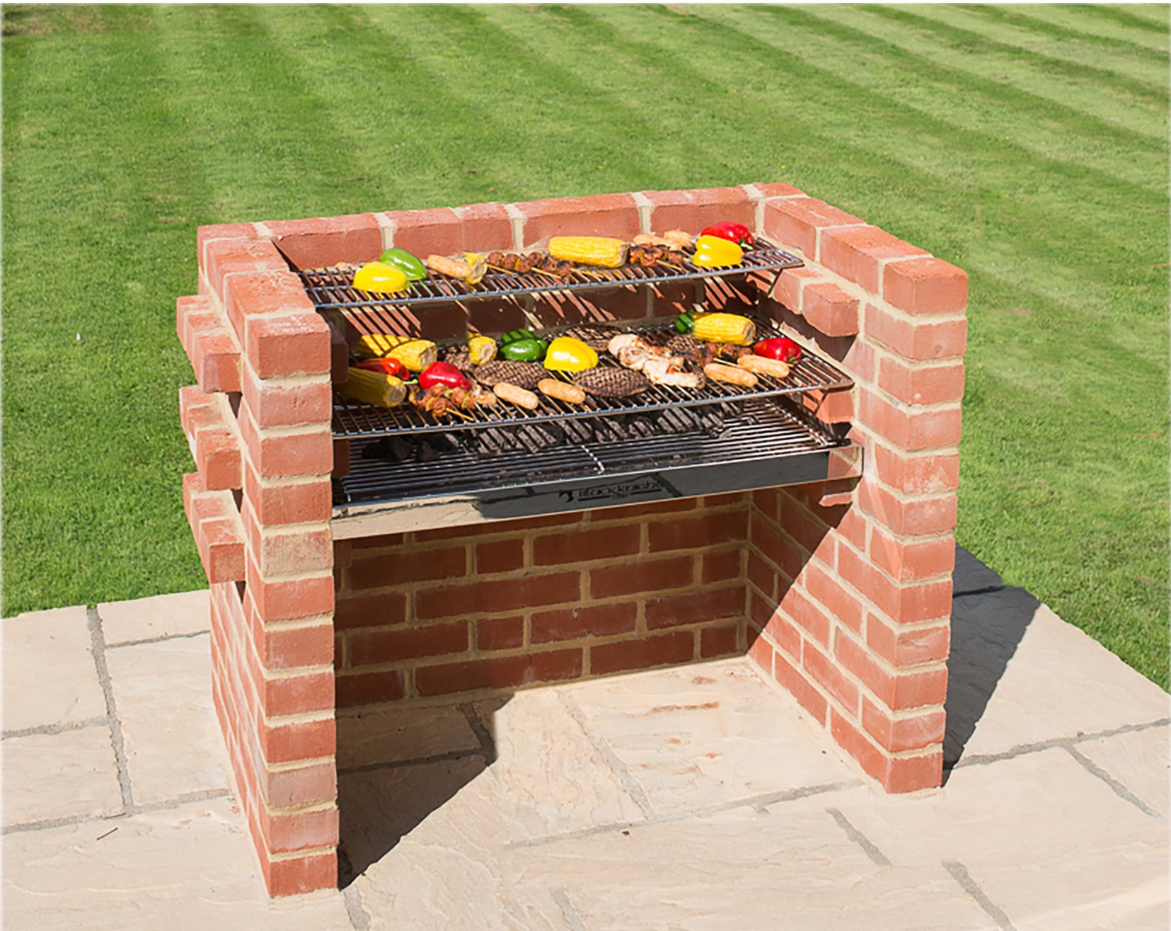 Built In BBQ Grill 550 sq in 100% Stainless Steel BKB 301 Brick BBQ Kit with Warming Rack