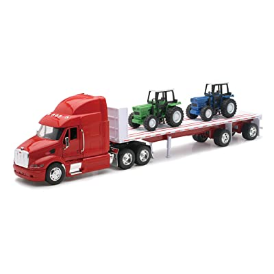 Peterbilt Truck with Flatbed Trailer and 2 Farm Tractors: Diecast and Plastic Model - 1:32 scale: Toys & Games