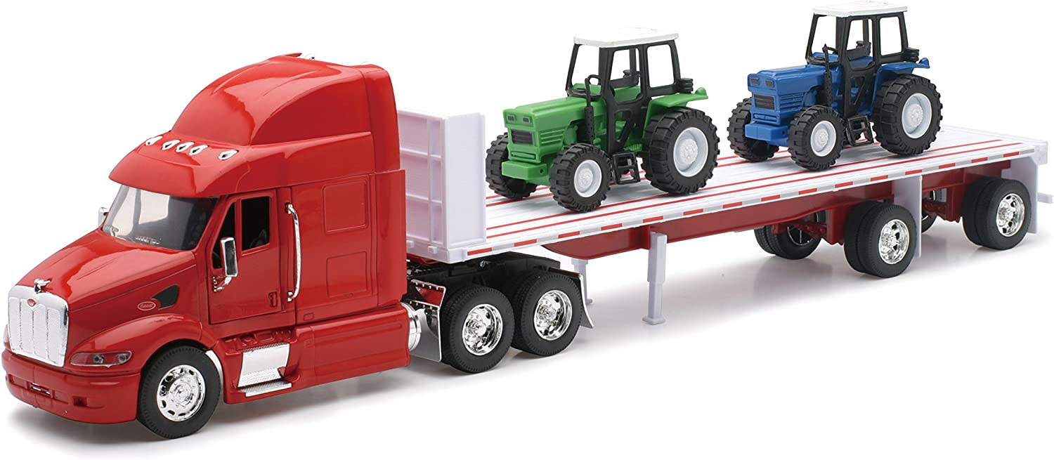 Amazon Com Peterbilt Truck With Flatbed Trailer And 2 Farm Tractors Diecast And Plastic Model 1 32 Scale Toys Games
