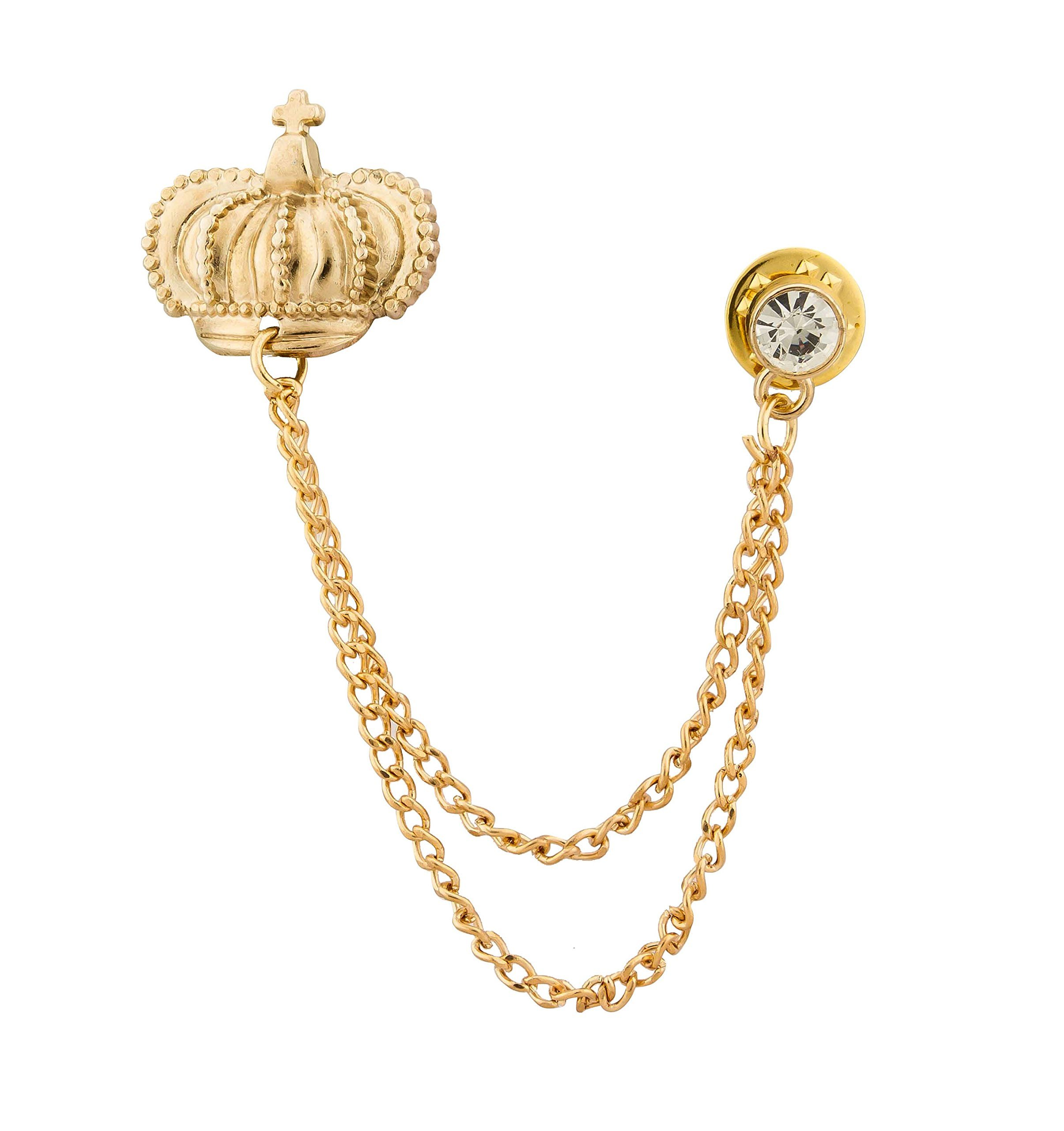 KNIGHTHOOD Men's Crown And Swarovski Lapel Pin/Collar Pin Shirt Stud Brooch (New Collection) Golden
