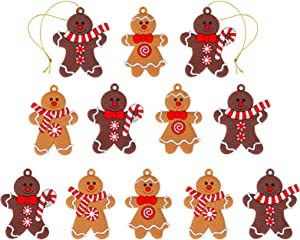 Binswloo Assorted Clay Figurine Gingerbread Man Ornaments Traditional Gingerman Hanging Charms Christmas Tree Ornaments for Holiday Kitchen Decor, 2.76 inches, Set of 12
