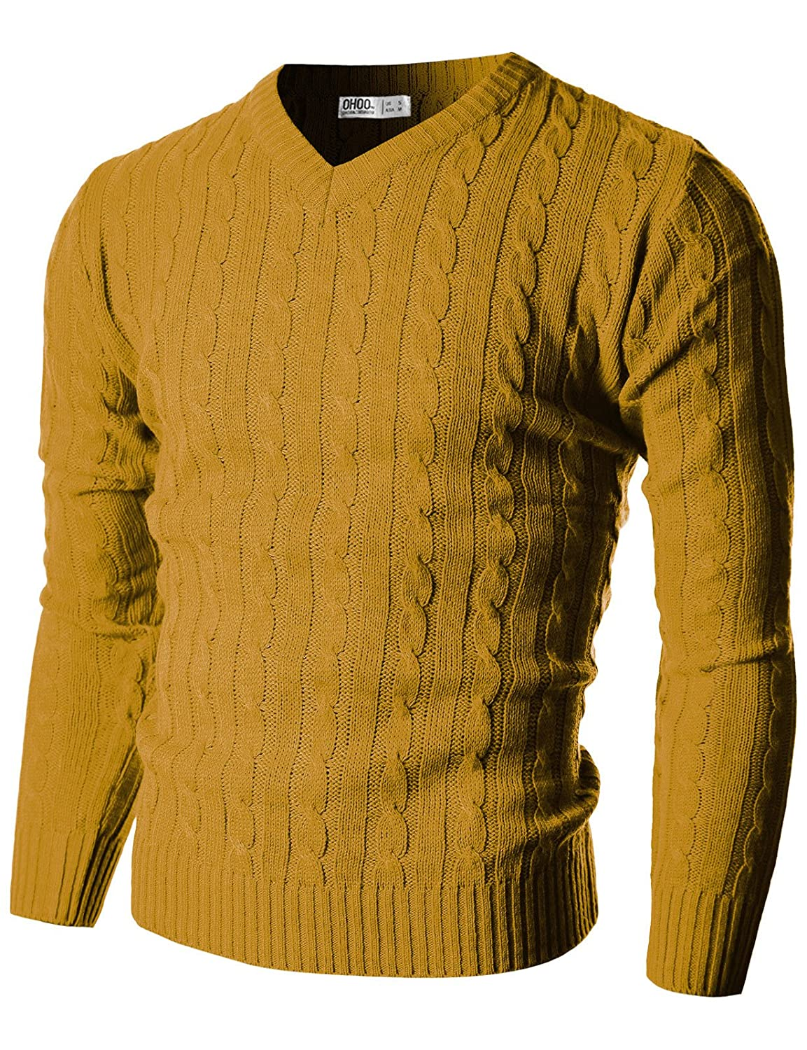 Ohoo Mens Slim Fit Cable Knit Long Sleeve V-Neck Pullover Sweater