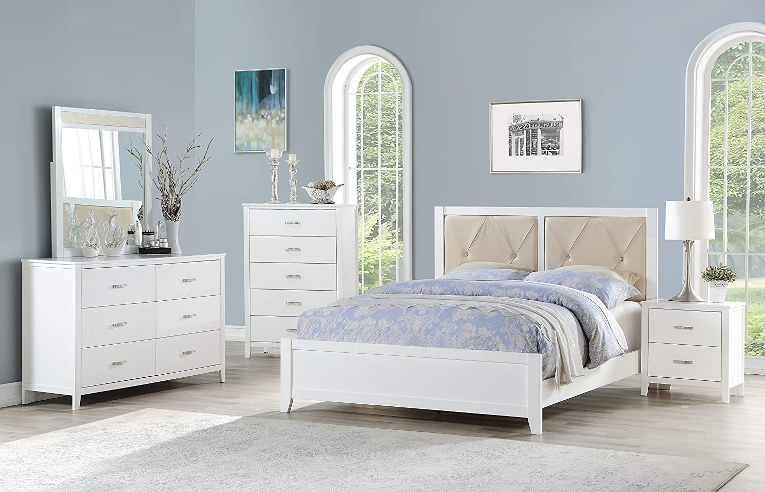 Amazon com esofastore modern classic beautiful white 4pc set bedroom furniture queen size bed dresser mirror nightstand faux leather tufted hb kitchen