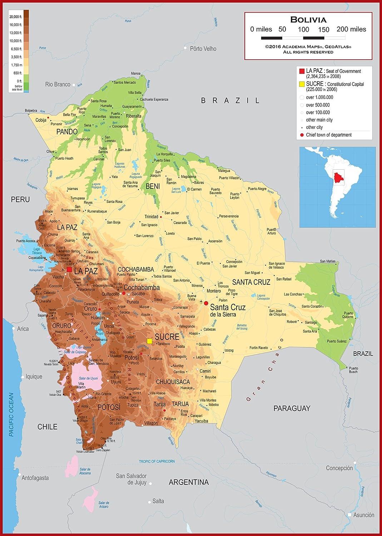 Amazon.com : Academia Maps - Wall Map of Bolivia - Fully Laminated ...