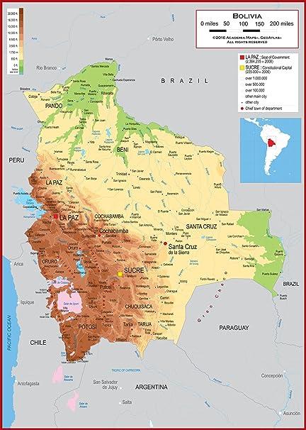 Amazon.com : Academia Maps - Wall Map of Bolivia - Fully ...