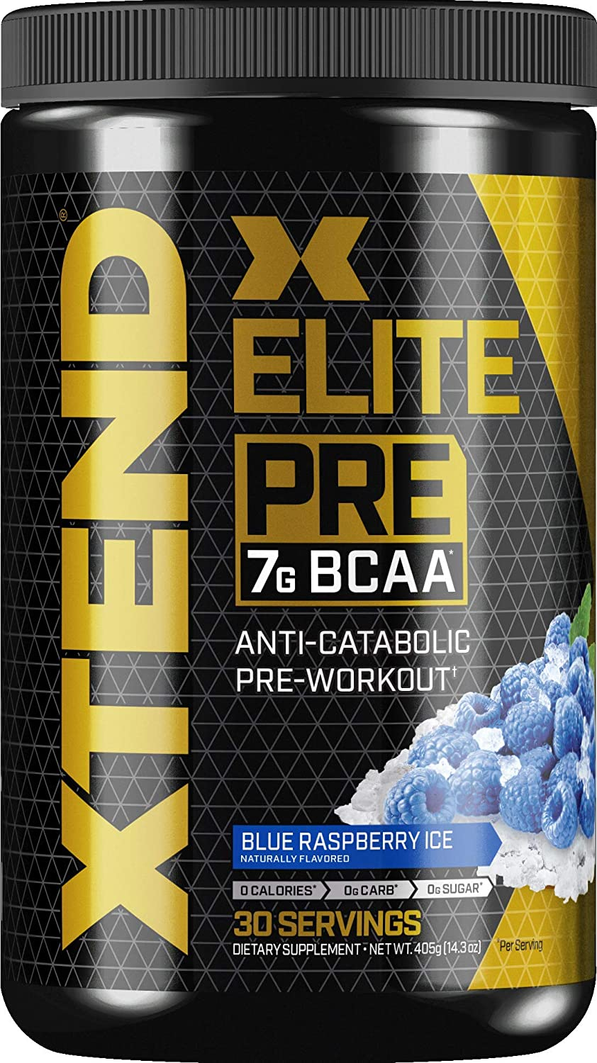 Scivation Xtend Elite Pre Bcaa Powder Anti-catabolic Pre Workout Drink Branched Chain Amino Acids Bcaas, Blue Raspberry Ice, 30 Servings